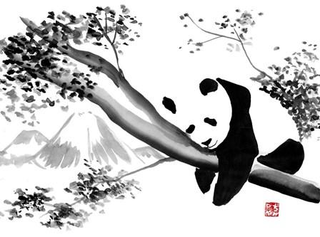 Panda In His Tree by Pechane art print