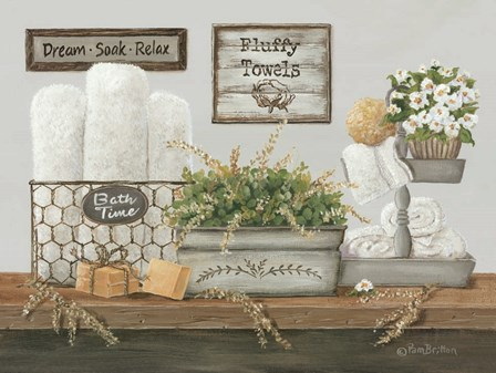 Fluffy Towels by Pam Britton art print