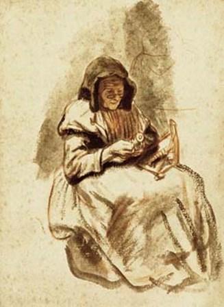 Sepia Grandma Sewing by Nicolaes Maes art print