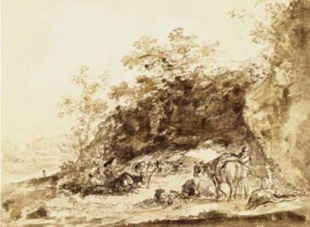 Sepia Landscape with Horses by Jean-Honore Fragonard art print