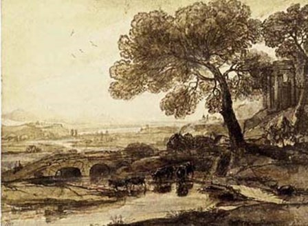 Sepia Landscape with Bridge by Lelorrain art print