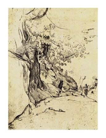 Sepia Tree Study by Jean-Baptiste Camille Corot art print