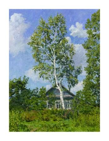 Birch Tree Near Dwelling by Ilya Yatsenko art print