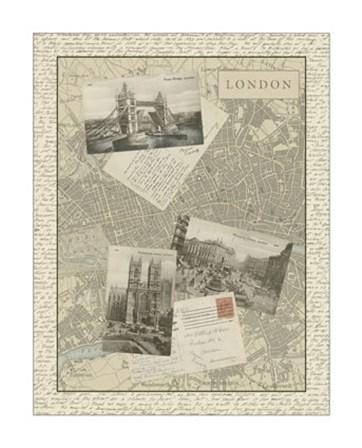 Vintage Map of London by Vision Studio art print