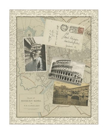 Vintage Map of Rome by Vision Studio art print