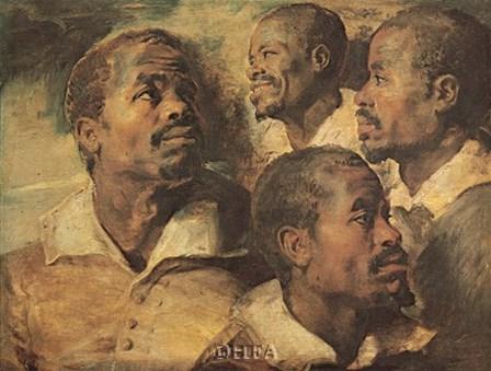 Four Negro Heads by Peter Paul Rubens art print
