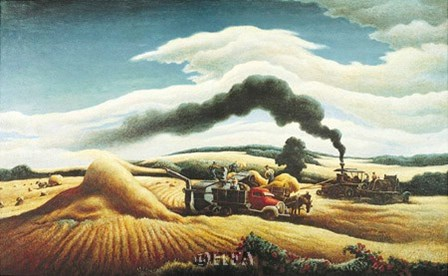Threshing Wheat by Thomas Hart Benton art print