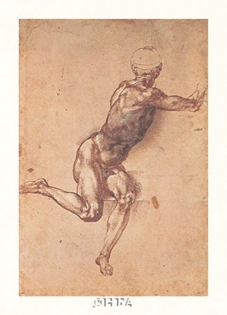 Study of a Seated Male Figure by Michelangelo Buonarroti art print