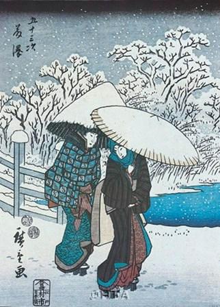 Women in the Snow at Fujisawa by Utagawa Hiroshige art print