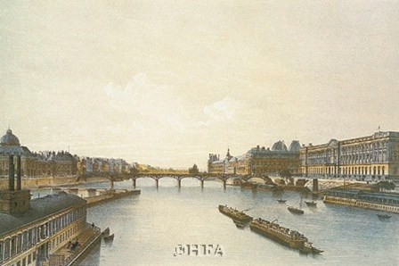 View of the Louvre from the Seine by P.h. Benoist art print