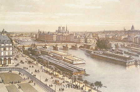 View of the Seine from the Louvre by P.h. Benoist art print