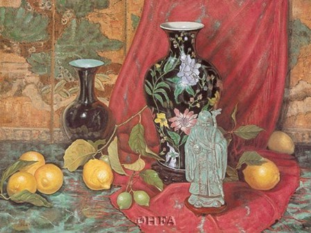 Lemons with Black Vase by Francie Botke art print