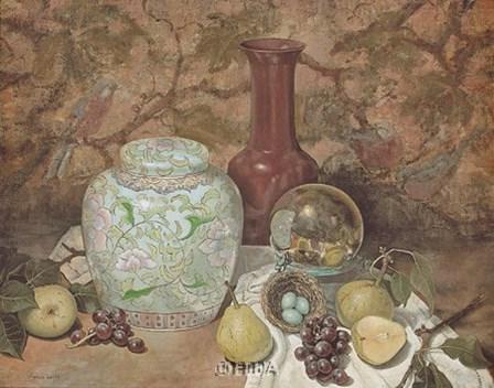 Ginger Jar with Bird Nest by Francie Botke art print