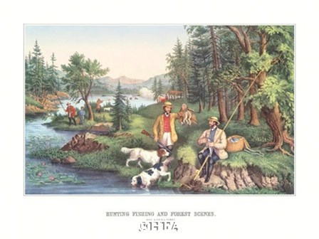 Hunting Fishing & Forest Scenes by Currier and Ives art print
