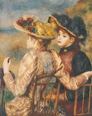 Two Seated Young Girls by Pierre-Auguste Renoir art print