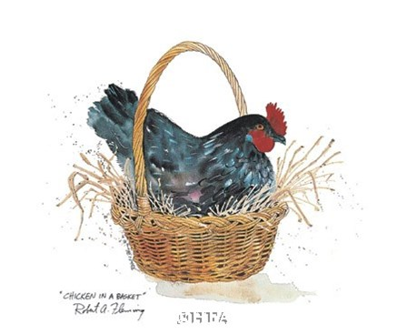 Chicken in a Basket by Robert A. Fleming art print