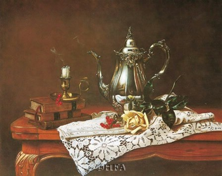 Still Life with Yellow Rose by William Galvez art print