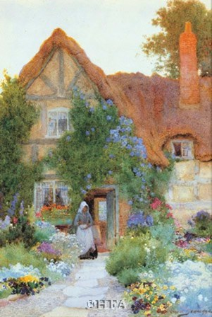 Outside the Cottage by C. Strachan art print