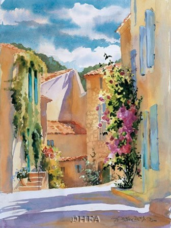 Coastal Village, France by Karen Mclean-Mcgaw art print