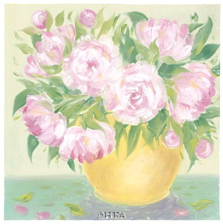 Yellow Vase Peonies I by Patricia Roberts art print