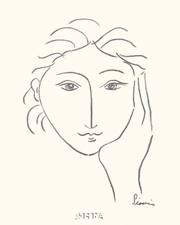 Woman's Face Sketch II by Simin Meykadeh art print