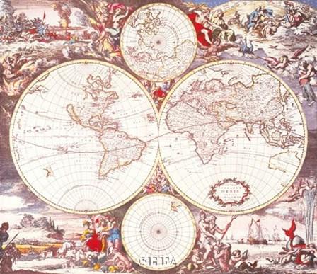 Map of the World by Willem Jan Blaeuw art print