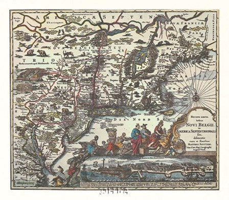 Map of North Eastern America by Willem Jan Blaeuw art print