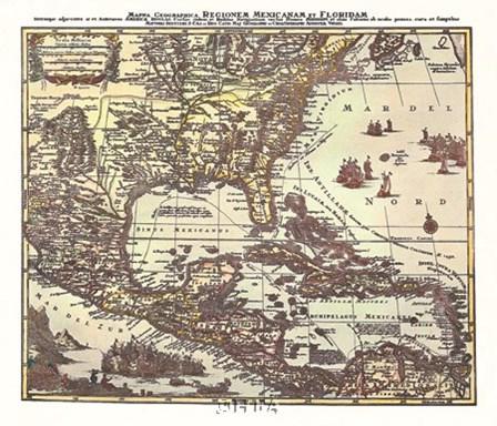 Map of South Eastern America by Willem Jan Blaeuw art print