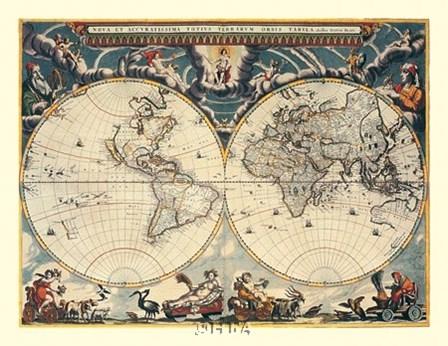 World Map by Willem Jan Blaeuw art print