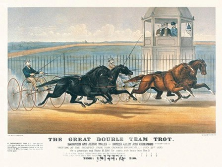 Great Double Team Trot by Currier and Ives art print