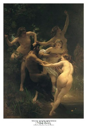 Nymphs and Satyr by William Adolphe Bouguereau art print