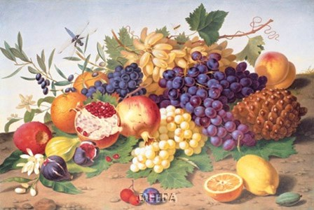 Still Life of Grapes, Pineapple, Figs by Adolf Senff art print