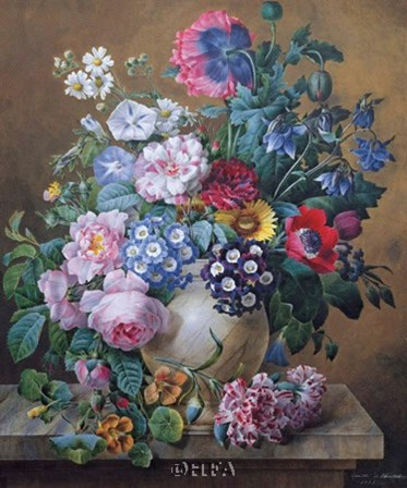 A Rich Still Life of Summer Flowers by Camille De Chantereine art print
