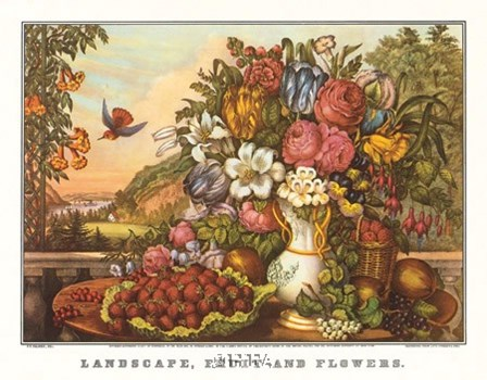 Landscape, Fruit and Flowers by Currier and Ives art print