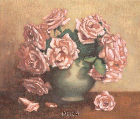 French Cottage Roses II by Linda Hanly art print