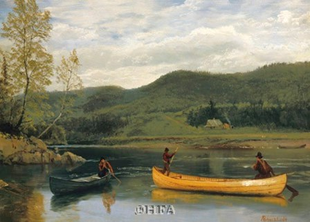 Men in Two Canoes by Albert Bierstadt art print