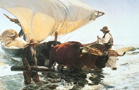 Retour de la Peche, Halage de la Barque by Joaquin Sorolla y Bastida art print