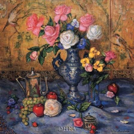 Roses with Blue Vase by Francie Botke art print