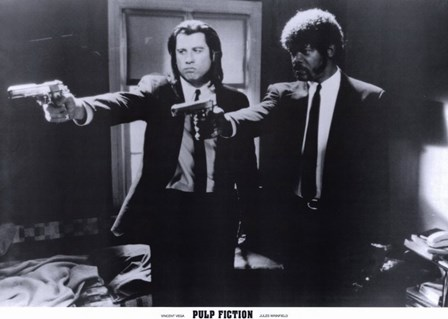 Pulp Fiction Shooting Black and White art print