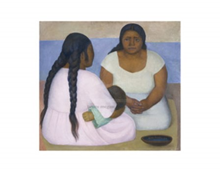 Two Women and a Child by Gustavo Rivera art print