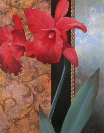 Lily Red/Teal Damasque by Tan Chun art print