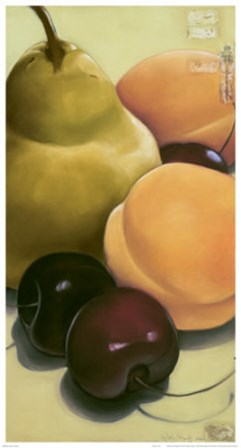 Pear, Apricots & Cherries by Sylvia Gonzalez art print