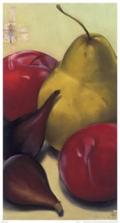 Pear, Plums & Figs by Sylvia Gonzalez art print
