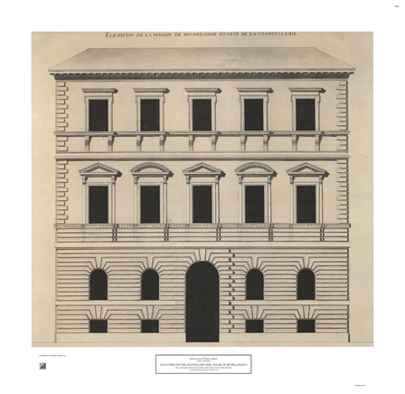 Elevation House of Michelangelo by Antoine-Laurent Vaudoyer art print