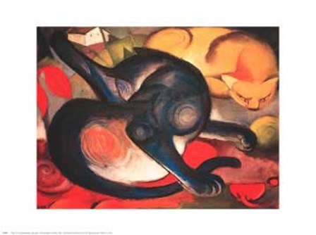 Two Cats by Franz Marc art print