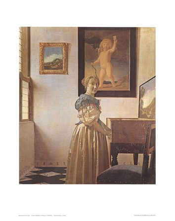 Young Woman Standing At a Virginal by Johannes Vermeer art print