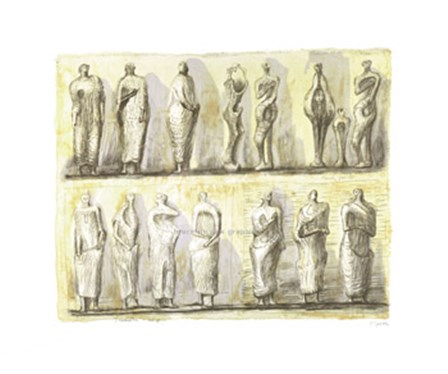 Standing Figures (serigraph) by H. Moore art print