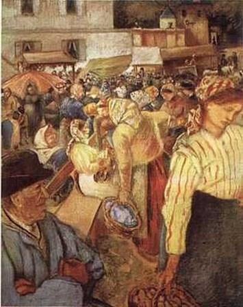 Village Market by Camille Pissarro art print