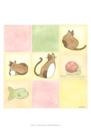 Tic-Tac Cats In Pink by June Erica Vess art print