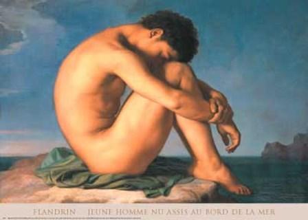 Jeune Homme nu Assis au Boro de la Mer by Hippolyte Flandrin art print